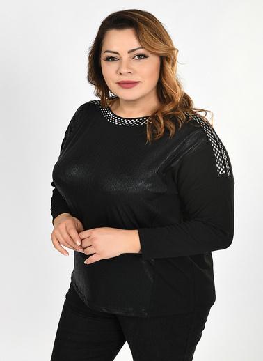Optique Knitwear Saks Puantiye Desenli Kayık Yaka Yarasa Uzun Kol Viskon Bluz Siyah
